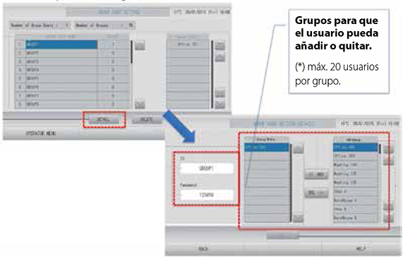 mhi Consolas Centrales Pantalla Tactil gestión de acceso