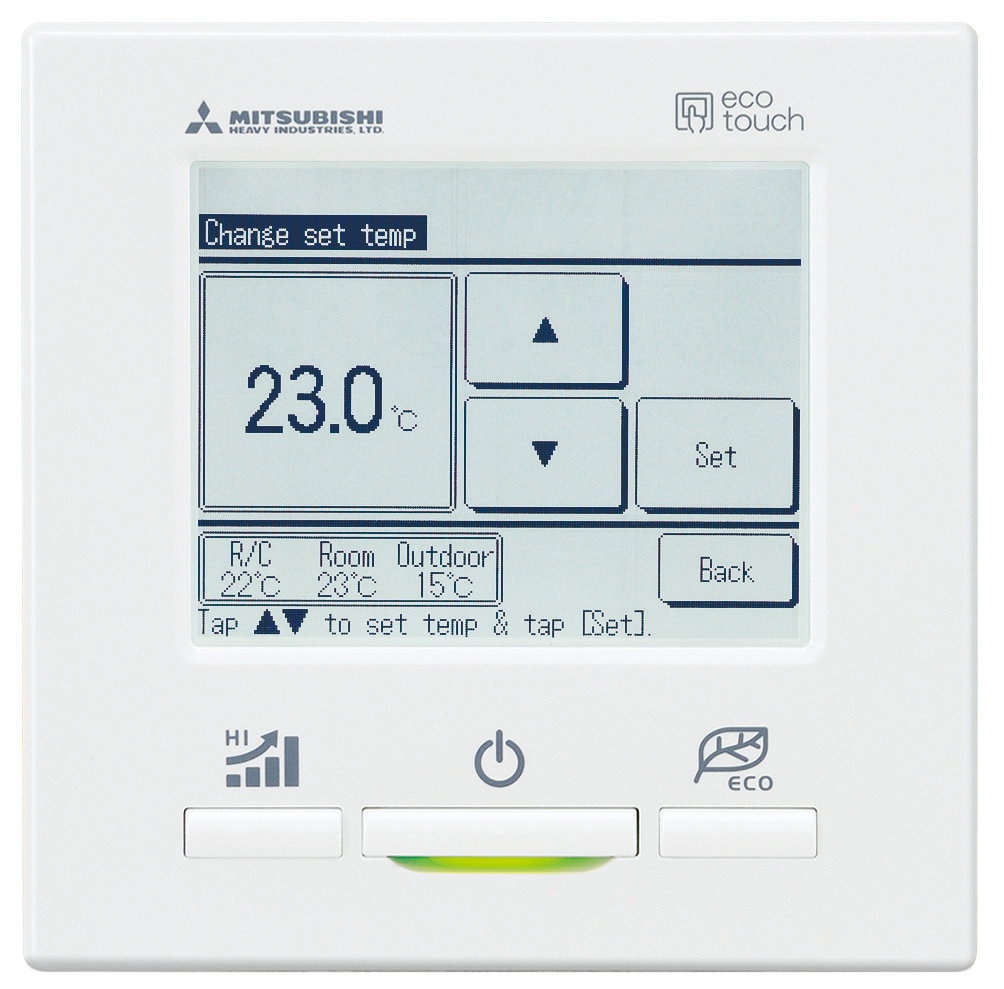 mhi control remoto pantalla seleccion temperatura